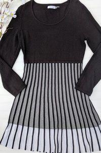 Calvin Klein Black/White Textured Sweater Dress